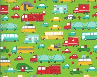 Green Beep Beep Fabric - On the Go - Stacy Iest Hsu - Moda Fabrics - Car Fabric - Boy Fabric - Truck Fabric - Sold by the Yard