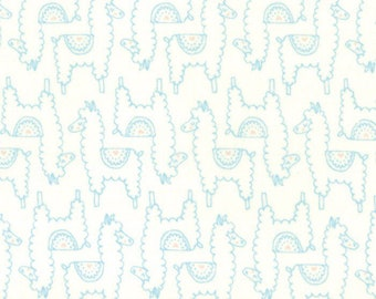 Soft & Sweet Flannel Fabric - Blue Llama Love Flannel Fabric - Stacy Iest Hsu - Moda Fabric - Llama Fabric - Sold by the Yard