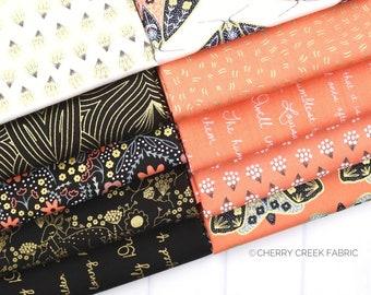 Dwell In Possibilities Black & Poppy Fat Quarter Bundle - Gingiber - Moda Fabrics - Metallic Fabric - Moth Fabric - 10 pieces
