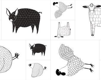 Farm Fresh Fabric Black & White Panel - Gingiber - Moda Fabric - Farm Fabric - Pig Fabric - Cow Fabric - Chicken Fabric - Panel Fabric