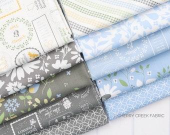 Spring Brook Blue & Gray Fat Quarter Bundle - Corey Yoder - Moda Fabrics - Floral Fabric - Fabric Bundle - 10 pieces