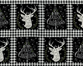 Hearthside Holiday - Black Panel Fabric - Deb Strain