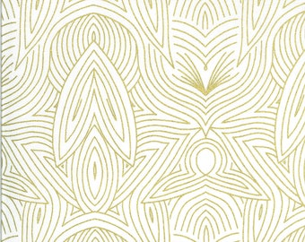 Gold Nouveau Fabric - Dwell In Possibilities - Gingiber - Moda Fabrics - Geometric Fabric - Feather Fabric - Sold by the Yard