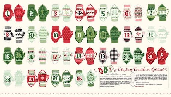 Riley Blake Mittens Christmas advent calendar fabric panel