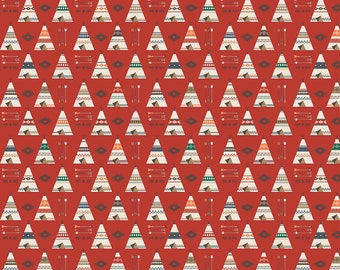 FAT QUARTER   High Adventure 2 - Red Teepee Fabric - Design by Dani - Sold by Half Yard - Outdoor Fabric - Woodland Fabric - Camping Fabric