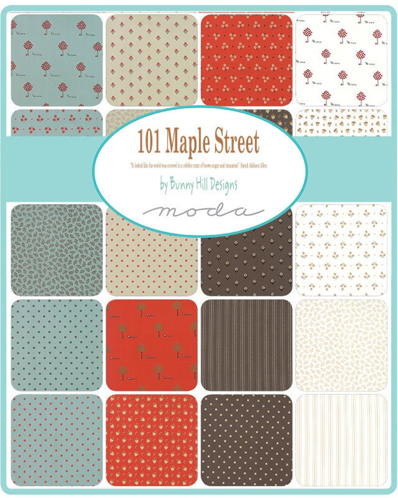 Green Dots Fabric Fall Fabric 101 Maple Street Fabric Autumn Fabric Moda Fabric FAT EIGHTH Bunny Hill Designs