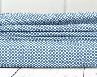 Blue Polka Dot Fabric - Merry Go Round Fabric - American Jane - Moda Fabric - Polka Dot Fabric - Sold by Half Yard