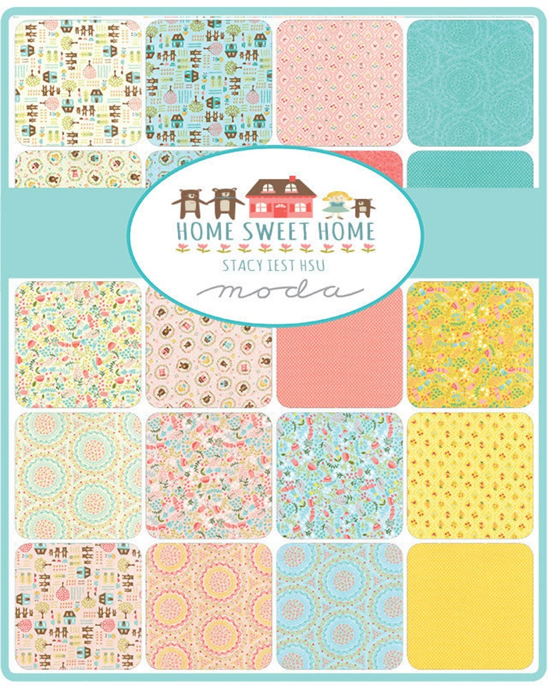 Moda Fabric Bundle Half Yard Bundle 7 pieces Home Sweet Home Blue Half Yard Bundle Stacy Iest Hsu Moda Fabrics