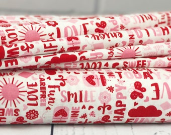 Happy Day - Pink Words Quilt Fabric - Riley Blake Designs - Pink Fabric - Sold by Half Yard