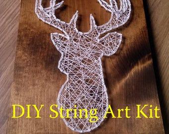 Buck Head Pattern Deer Head String Art Pattern 10.5 x 8