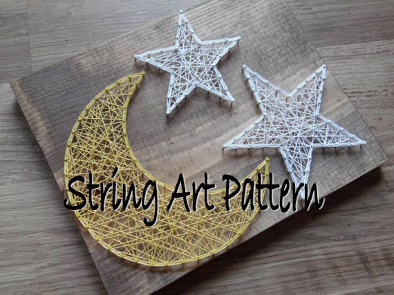 Moon And Star String Art Pattern String Art Pattern String Etsy Stunning String Art Patterns