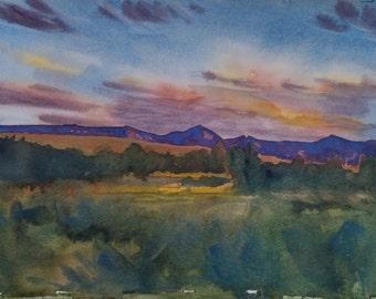 Sunset, Original Watercolor Painting