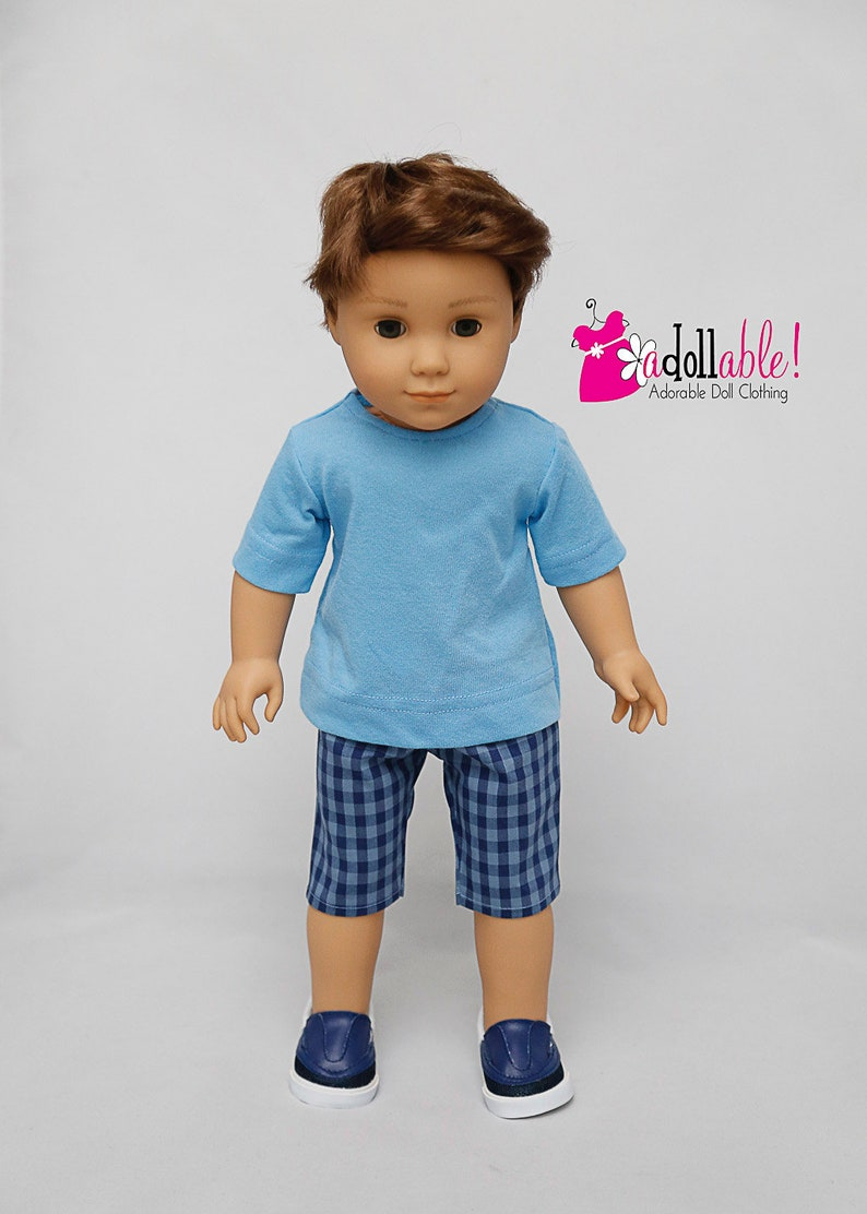 Blue Or Green Stripe T Shirt 18 in Boy Doll Clothes Fits  American Girl