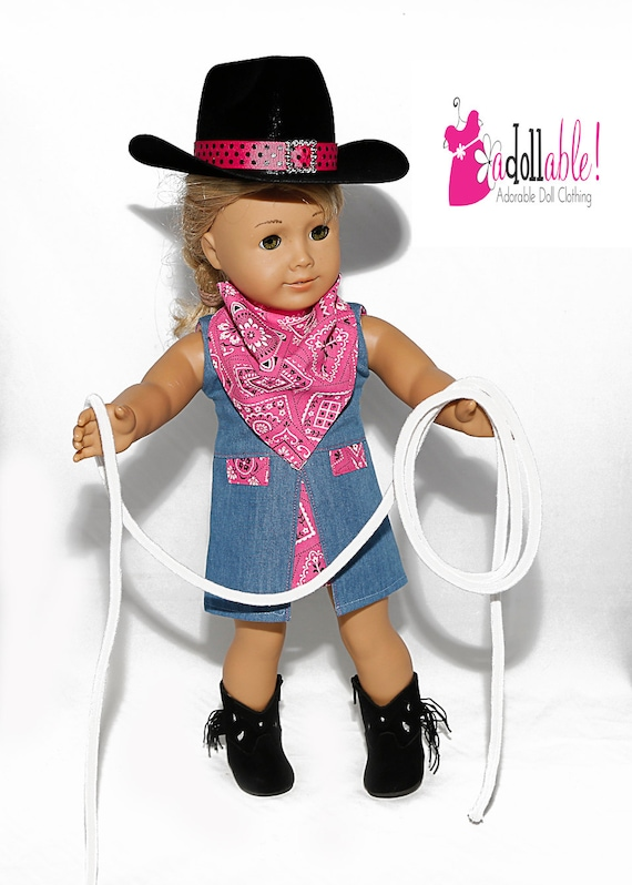 be757acc78e Fits like American Girl doll clothes black hot pink cowgirl