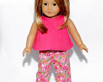 Fits like American Girl doll clothes, doll pajamas with hot pink sleeveless top and floral bottoms / 18 inch doll clothes
