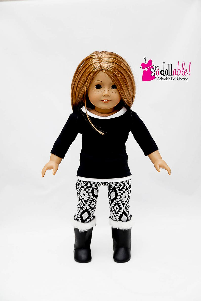 d1391c137605e Fits like American Girl doll clothes black top white tank   Etsy