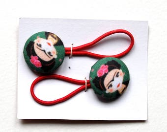 Button hair elastics frida fabric