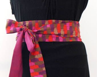 Obi belt fabric geometrical japanese belt
