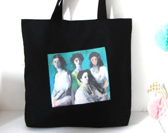 tote bag black shopping bag gothic