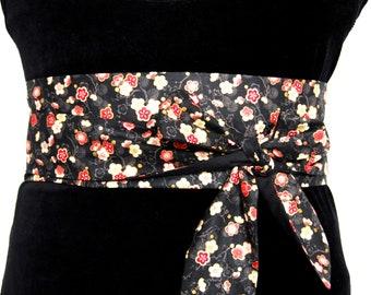 ffe4850ab27f Ceinture obi tissu fleurs cerisiers réversible ceinture japonaise  Obi belt  sash fabric coloured cherry flowers