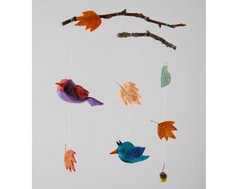felt mobile birds leafs baby child room decoration