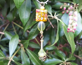 Yellow Millefiori Fairy Wish Catcher - Fairy Garden Accessory WC-6