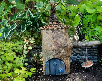 Woodland Fairy House with Denim Door, Button Swing & Whimsical Pine Cone Roof (591)
