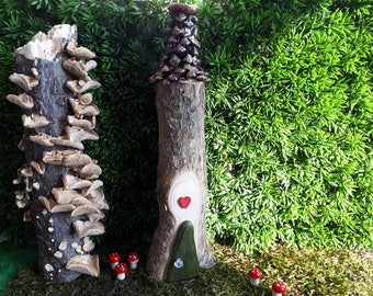 Woodland Fairy House with Olive Green Door, Wooden Heart & Pine Cone Shingle Roof