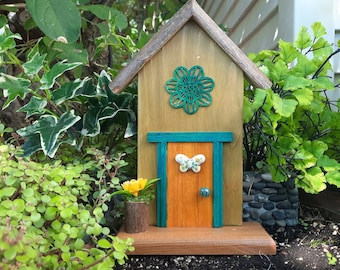 Yellow and Moss Green Fairy Door with Butterfly Window (445)