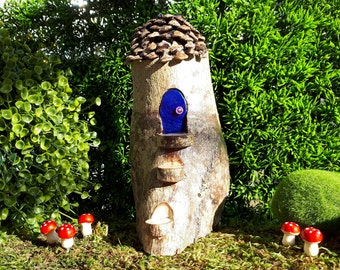 Pixie Woodland Fairy House with Stairs and Indigo Blue Door and Pine Cone Shingle Roof