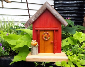 Dark Coral Fairy House with Mustard Door, Wooden Floral Button and a Fairy Flower Pot (366)