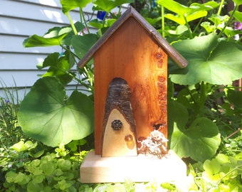 Butterscotch Natural Cross Cut Fairy Door with Fairy Flower Pot and Vintage Jewelry Piece (331)
