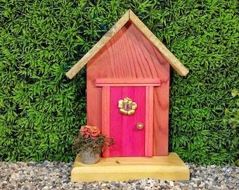 Pink Fairy Door with Vintage Bling Window (245)