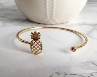 Pineapple Cuff Bracelet, Pineapple Bracelet, Gold Pineapple Bracelet, Summer Pineapple Bracelet, Bridesmaid Gift
