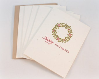 Christmas Card Set, Rustic, Wreath, Xmas, Blank Card Set, Happy Holidays, Christmas Cards, Holiday Wreath, Holiday Cards, Gift Enclosures