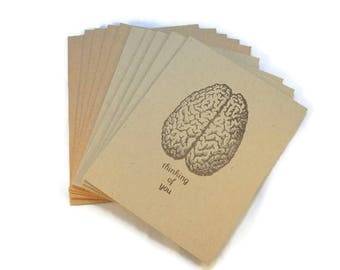 Blank Note Cards, Brain, Thinking Of You, Miss You, Quirky Note Cards, Anatomy Note Cards, Neuroscience Cards, Gift For Doctor, Scientist