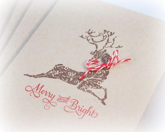Cartes De Noël Vacances Rustique Cerf Carte Ensemble Carte