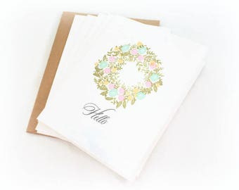 Floral Wreath Blank Note Card Set