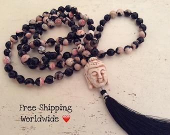 Mala Bead Necklace, 108 Agate Mala, Mala Beads, Yoga Jewelry, 108 Mala Beads, Buddha Tassel Necklace, Spiritual Jewelry, Love