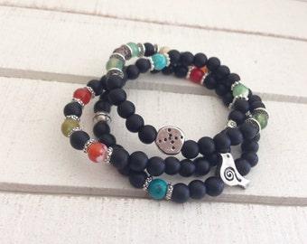 Set of 3 Yoga Bracelets, Yoga Bracelets, Stacking Bracelets, Yoga Stack, Mala Set, Bracelet Set, Mala Bracelet, Onyx Bracelet Mala, Love