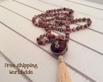 Knotted Mala Necklace, 108 Mala, Brown Agate Mala, Japa Mala Necklace, Tibetan Mala, Maditation and Healing Beads, 108 Beads Mala Necklace
