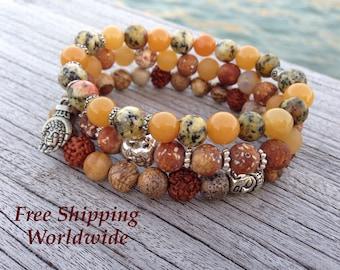 Set of 3 Mala Bracelet, Energy Bracelet, Mala Bracelet, Yoga Bracelet, Brown Bracelet, Buddhist Jewelry, Prayer Beads, Meditation Mala, Love