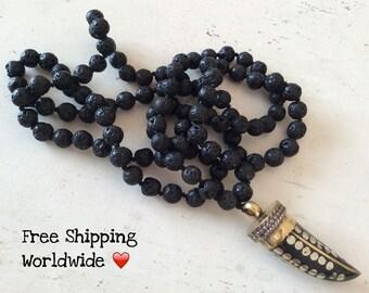Mala Necklace, Yoga Necklace, Zen Mala, Buddhist Mala Necklace, Mantra Mala, Prayer Beads, Lava Mala Necklace, 108 Lava Mala, Black Necklace