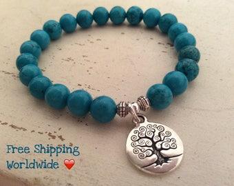 Tree of Life, Calming Bracelet, Turqoise Bracelet, Yoga Mala,  Relaxation Beads, Yoga Mala Bracelet, Energy Bracelet, Wrist Mala, Healing