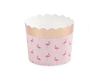 Pack of 18 Food Cups Tropical Baby Shower Bride /& Flock Bachelorette Party Pink Flamingo Treat Cups Flamingo Party Decorations