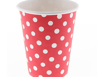 Cups   Polka Dot Red Paper Cups 9 oz   Red with White Polka Dots   12 Paper Cups   Premium Quality   Birthday Party   The Party Darling