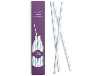 Paper Straws | Powder Blue and White Striped Paper Straws | Blue Stripe | High Quality | Retro Straws | Party Supplies | The Party Darling