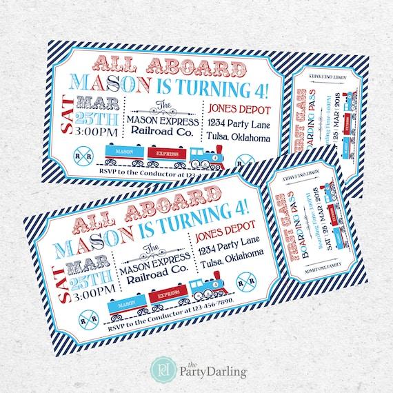 Train Ticket Invitation Train Birthday Invitation Train Party