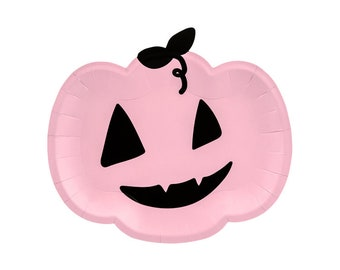 Pink Halloween Pumpkin Plates 6ct   Kids Halloween Party Decorations   Pink Halloween Birthday   Trick or Treat Party   Paper Plates