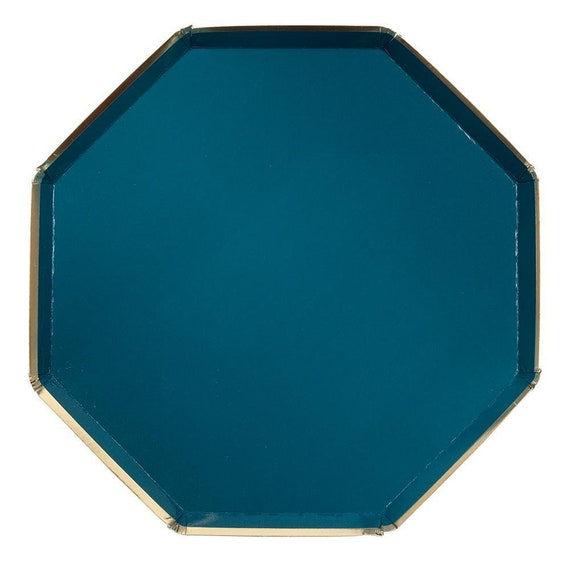 Dark Blue Large Octagonal Paper Plates 8 Pack